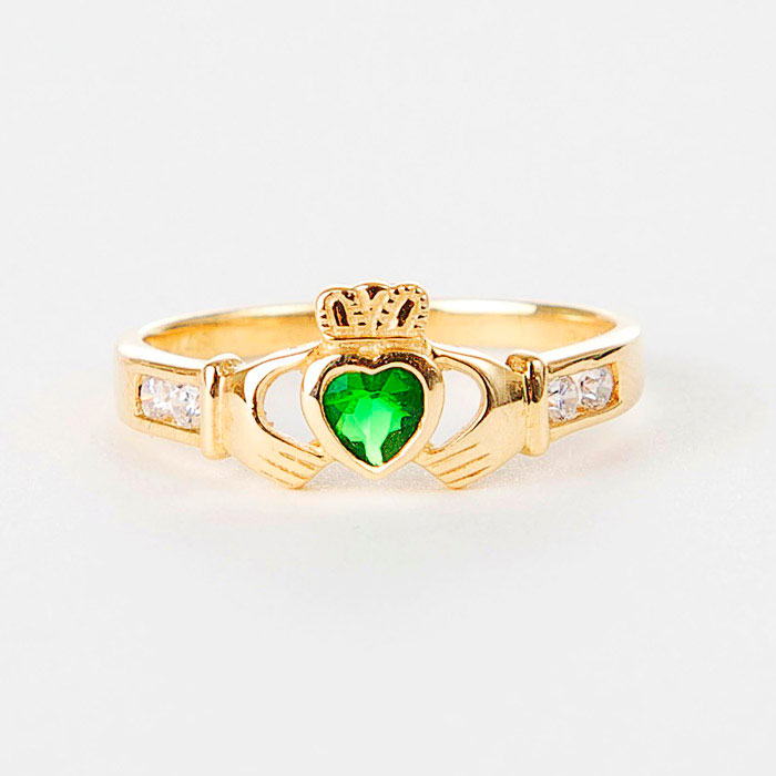 9k Gold Claddagh with synthetic Emerald Moriartys Authentic