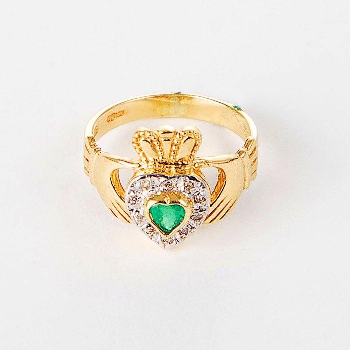 14k Gold Diamond & Emerald Claddagh Ring Moriartys Authentic