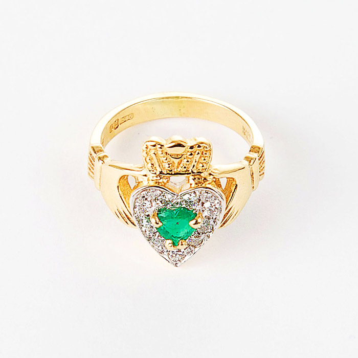 14k Gold Emerald & Diamond Claddagh Ring Moriartys Authentic