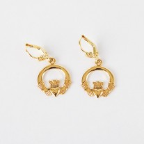 Gold Claddagh Drop Earrings