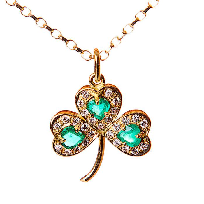 Emerald diamond 14k gold shamrock pendant moriartys authentic gold shamrock pendant aloadofball Images