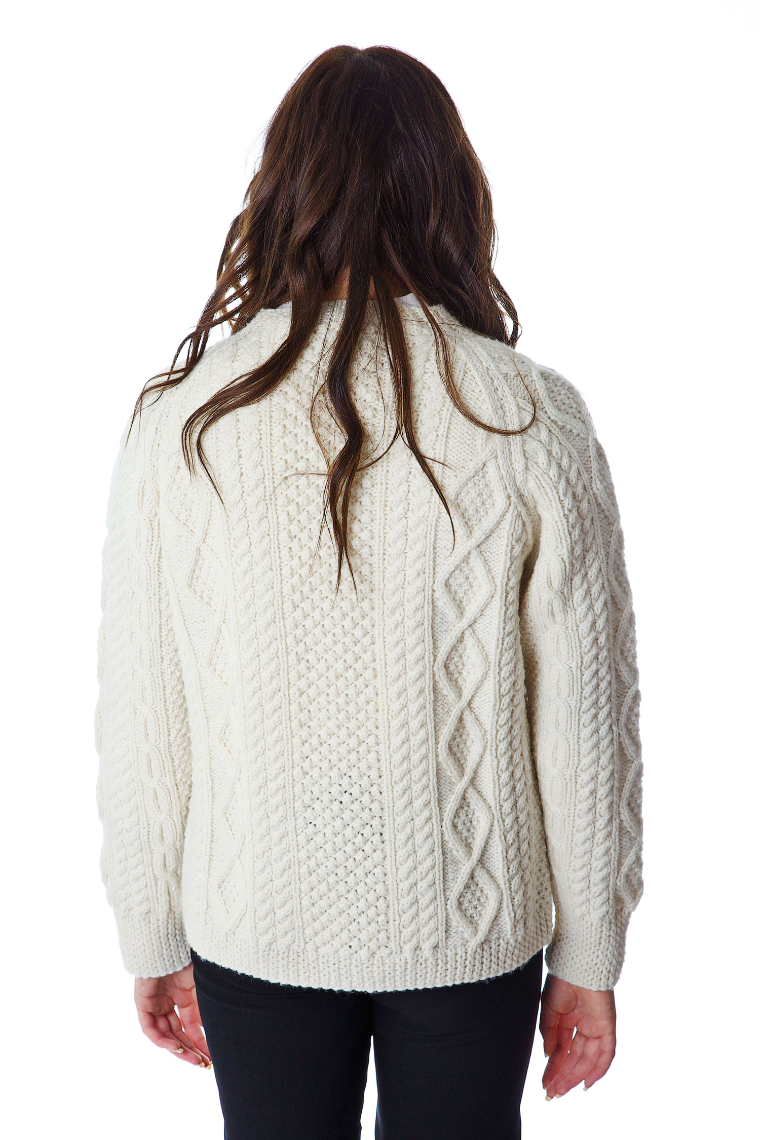 Ladies Traditional Aran Handknit Cardigan - Moriartys ...