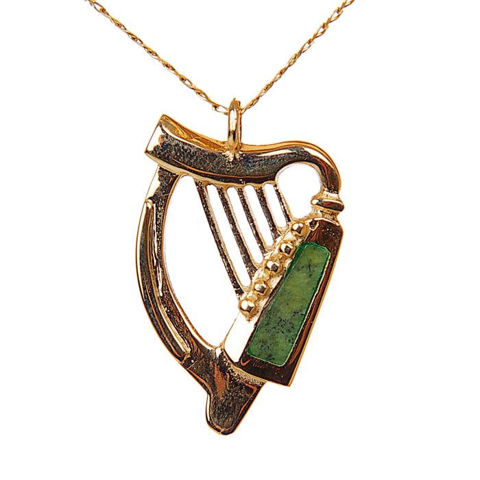 14k gold connemara marble harp pendant moriartys authentic irish harp pendant aloadofball Gallery