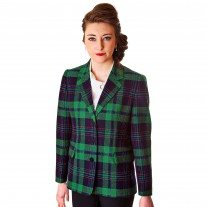 Ladies Saddle Jacket Green & Navy Tartan