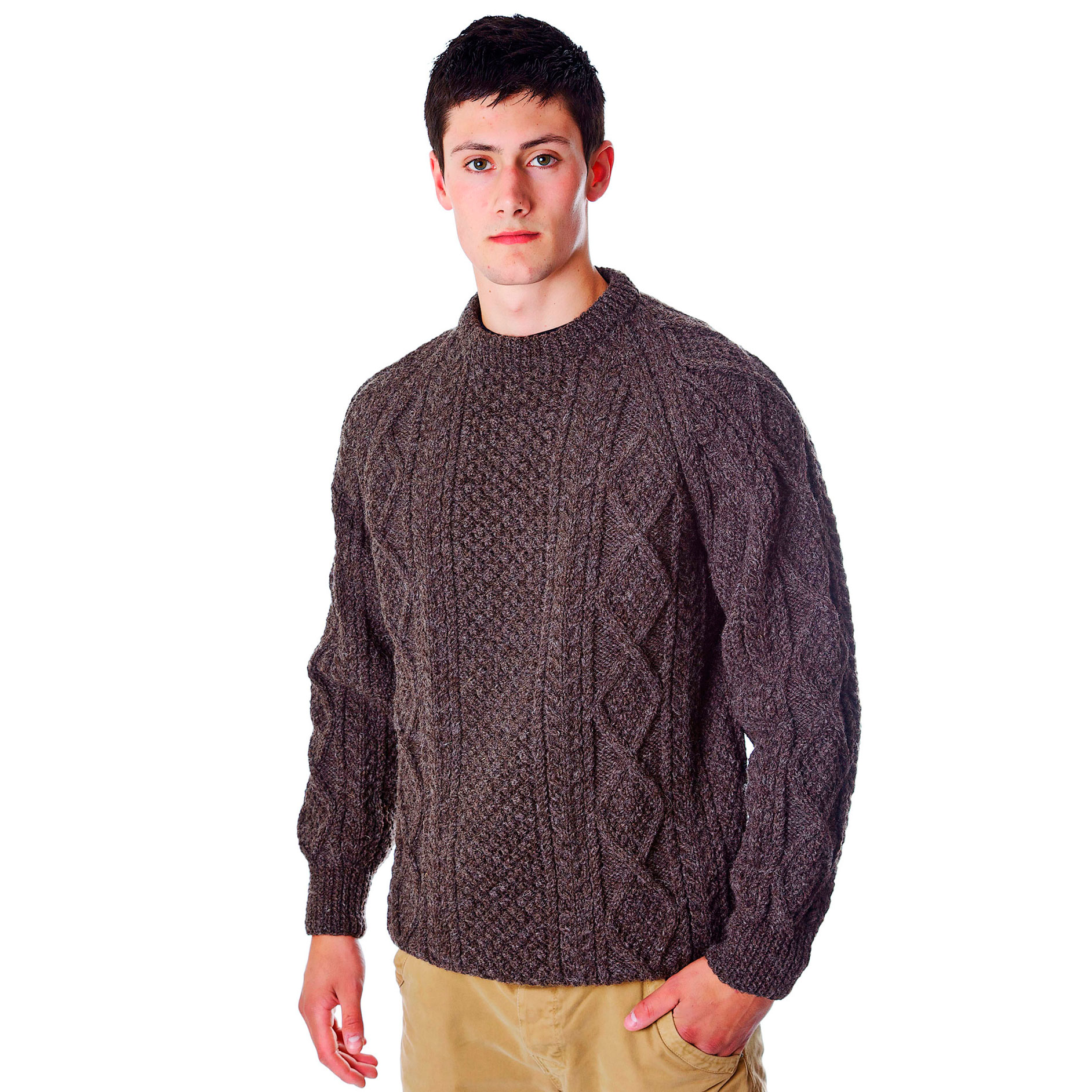 Men's Aran Handknit Crew Sweater - Moriartys Authentic ...