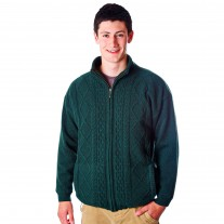 Mens Zipper Cardigan Green