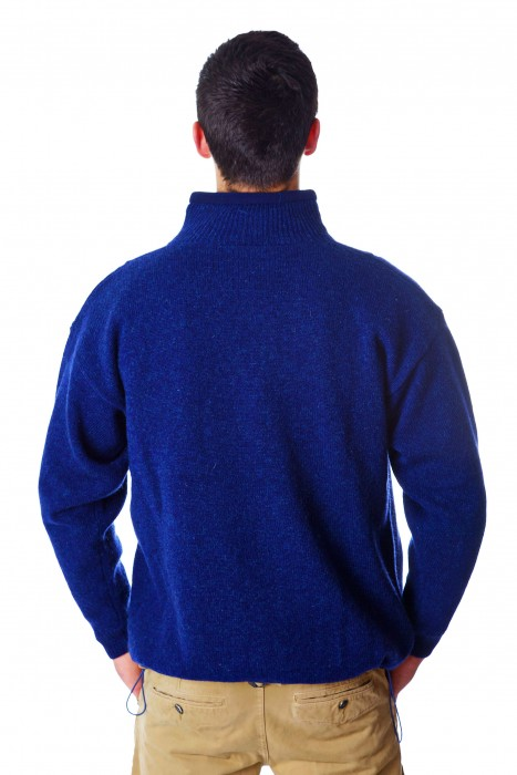 Mens Zipper Cardigan Blue