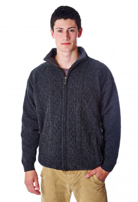Mens Zipper Cardigan Charcoal