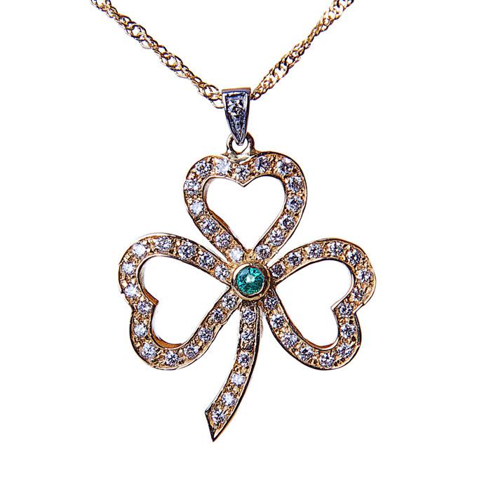 Diamond emerald 14k gold shamrock pendant moriartys authentic shamrock pendant2 aloadofball Images