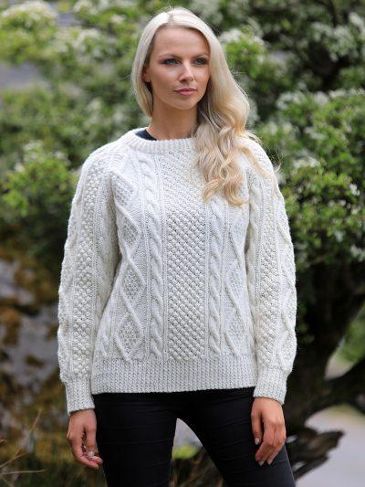 Handknit Aran Crew Sweater