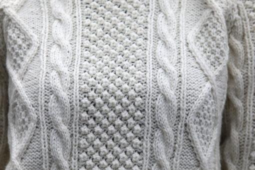Handknit Aran Crew Sweater detail