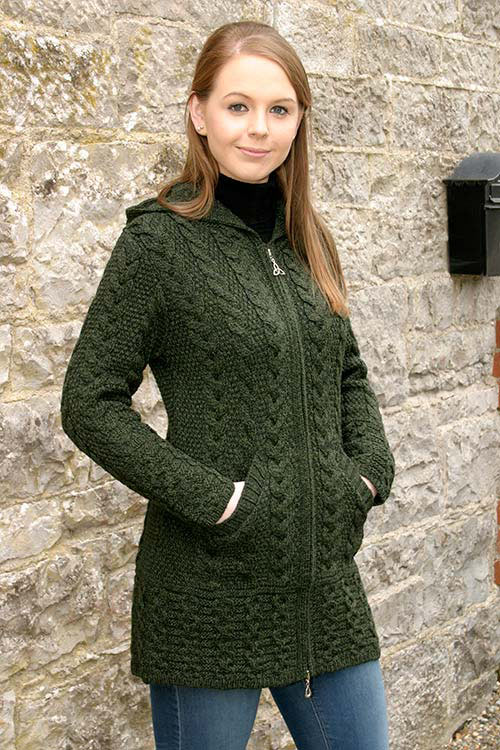 Ladies hooded coat with celtic knot zipper green
