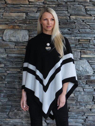 Moray Cashmere Poncho black stripe