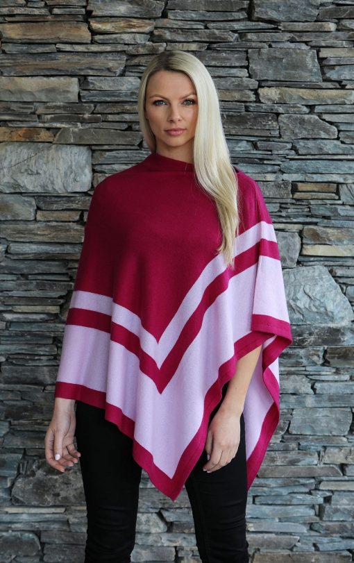 Moray Cashmere Poncho magenta stripe