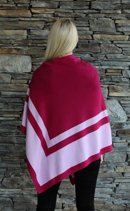 Moray Cashmere Poncho magenta stripe back