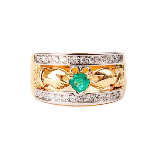 14k Gold Emerald & Diamond Claddagh Band