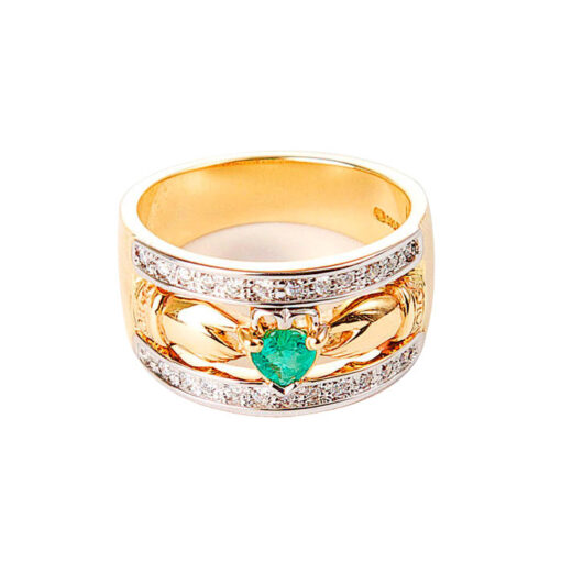 14k Gold Emerald and Diamond Claddagh Band