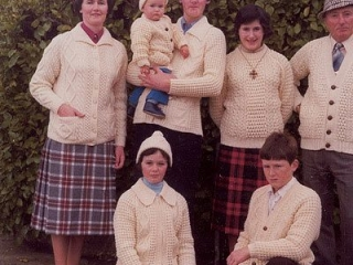 Famous for our knits - the family sporting Arans in 1979.