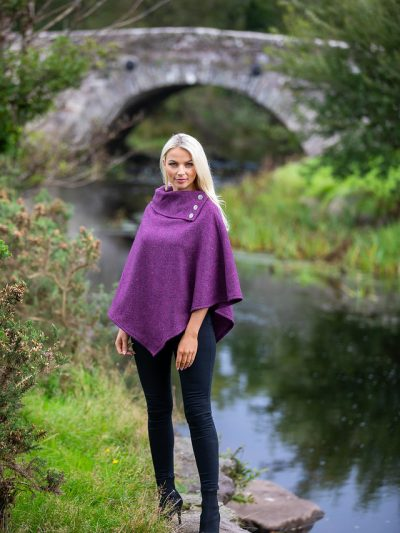 purple poncho with buttons