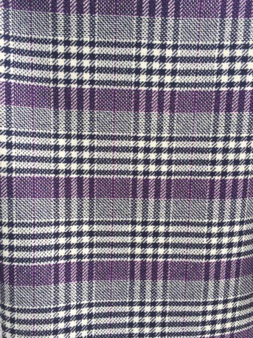 Button Neck Poncho black and purple check