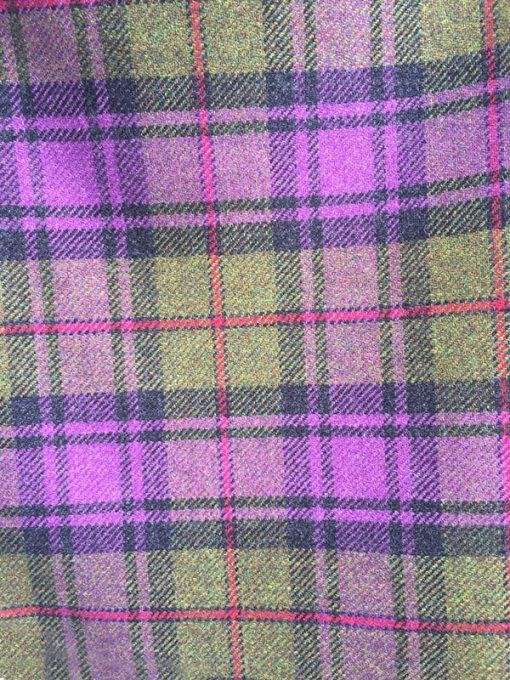 Button Neck Poncho purple and green check