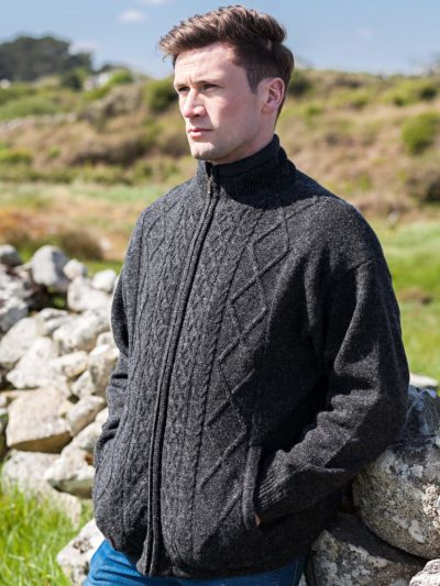 Wool Zip Cardigan grey