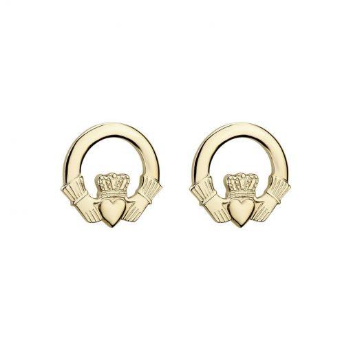 gold claddagh stud earring