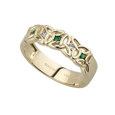 trinity knot gold emerald diamond ring