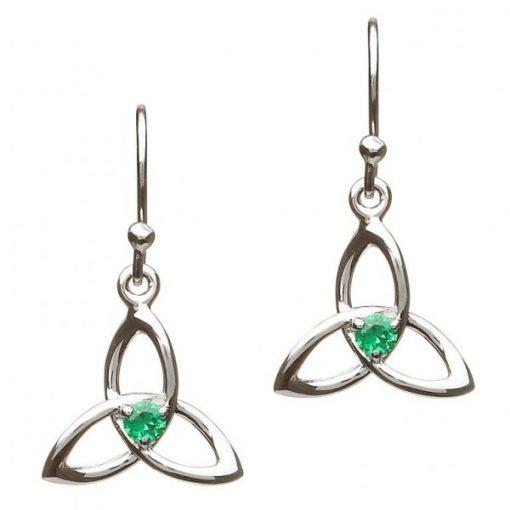 sterling silver trinity knot drop earrings