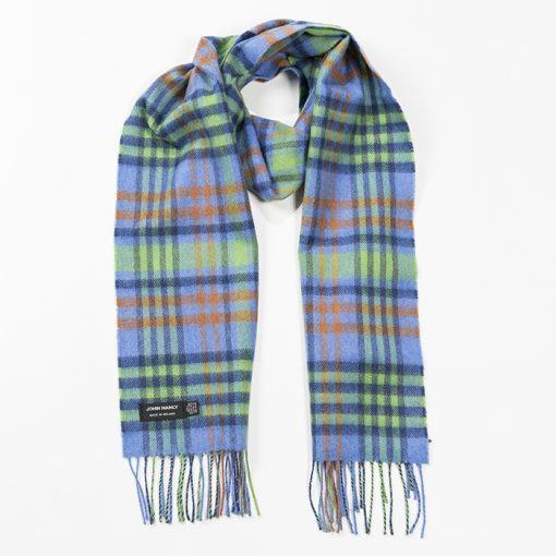 blue orange check scarf