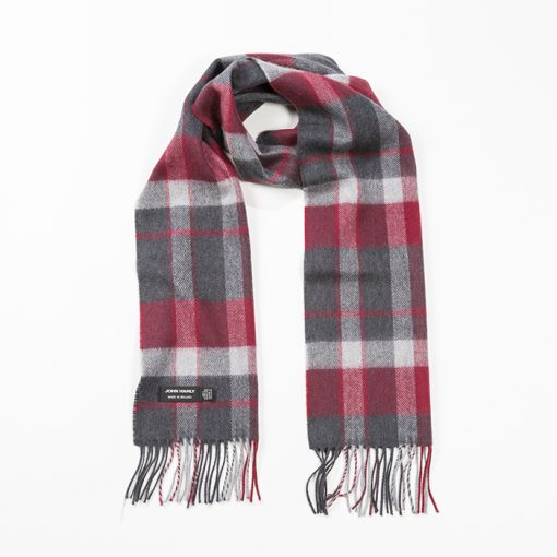 red and grey scarf