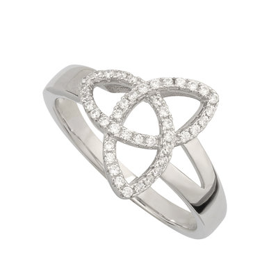 trinity knot silver ring cubic zirconia
