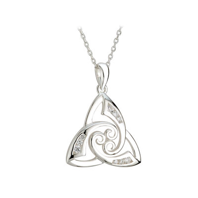 silver trinity knot cubic zirconia pendant