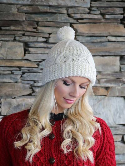 hand knit Irish aran hat with bobble