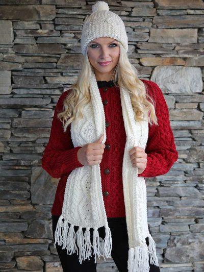 hand knit Irish aran scarf