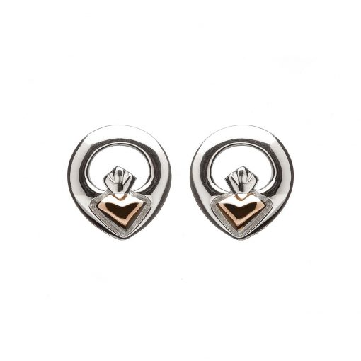 stud claddagh earring rose gold silver