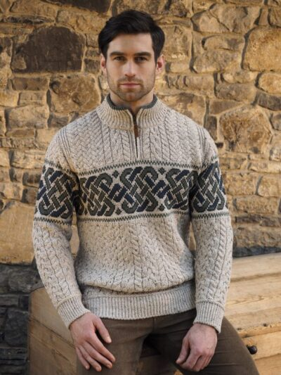 oatmeal half zip cable knit mens sweater