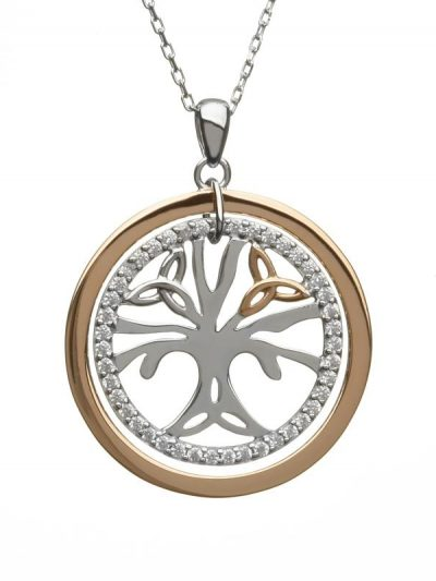 tree of life pendant silver rose gold