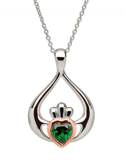 claddagh green stone pendant