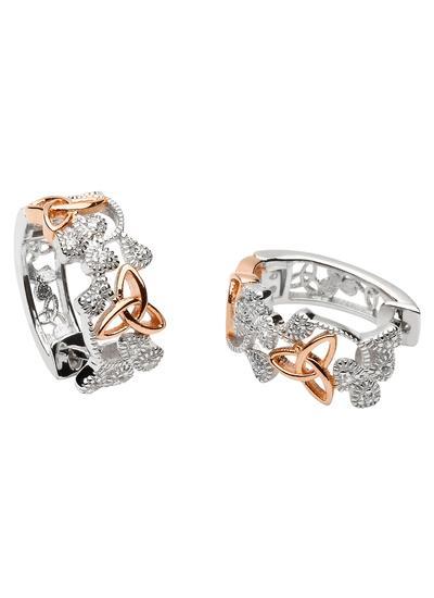 trinity knot shamrock diamond earring white gold