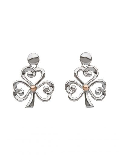silver and gold shamrock earring