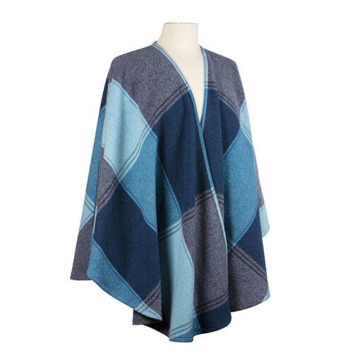 blue navy wool cape wrap ladies