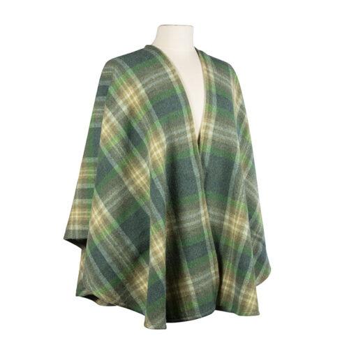 green plaid ladies warp wool cape