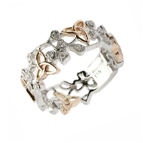trinity knot shamrock diamond ring white gold