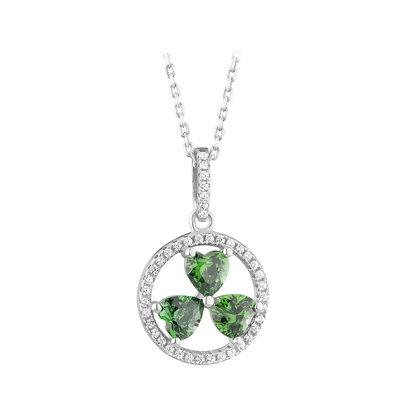 green shamrock silver pendant cubic zirconia