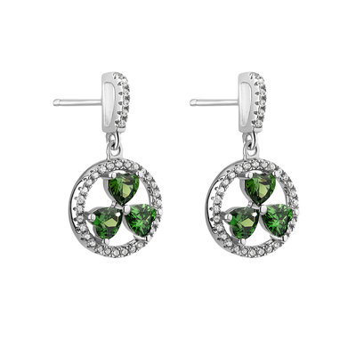 green shamrock silver earring