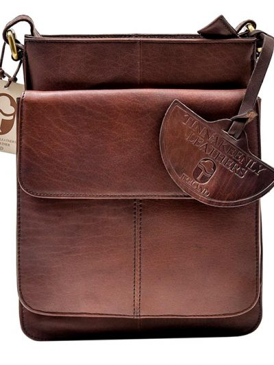 brown leather compact bag