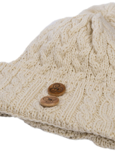 cable knit bobble hat natural