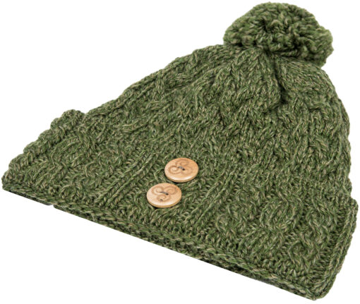 cable knit bobble hat green
