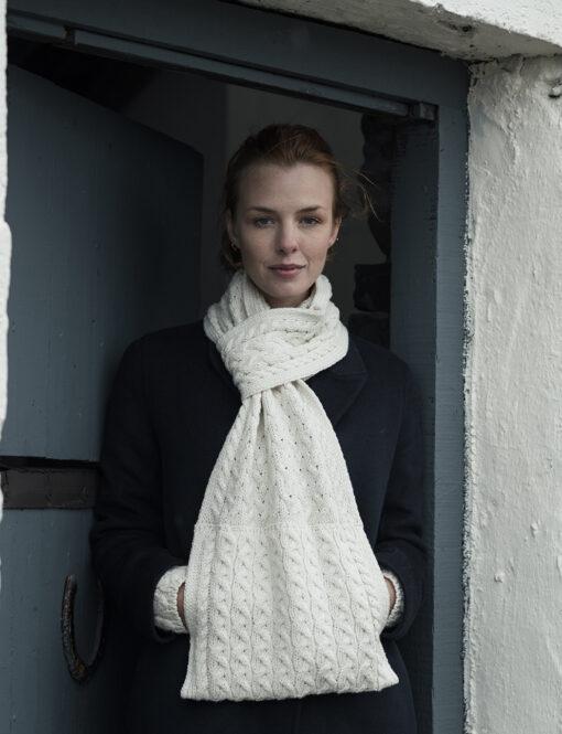 natural aran pull through scarf